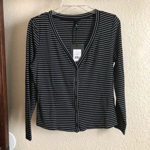 Who What Wear Collection Black & White Striped Top
